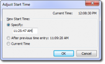 Screenshot: Adjust Start Time